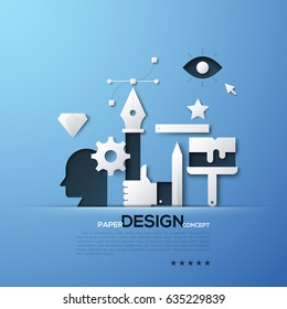 Design paper concept. White silhouettes of designer and illustrator tools, head, hand holding pen, Bezier curve. Elements in simple style. Vector illustration for presentation, brochure, website.