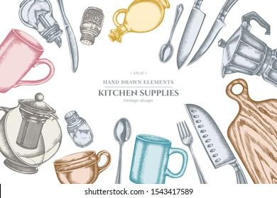 Design with pastel Chef's knifes, teaspoon, spoon, fork, knife, cutting board, bottle of oil, teapots, coffee pot, cups, sugar bowl, pepper shaker, salt shaker