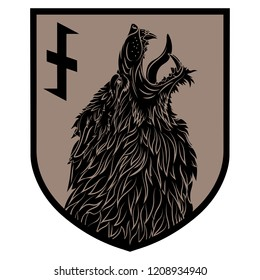 Design patch. Heraldic shield with a Werewolf and rune Wolfsangel, isolated on white, vector illustration