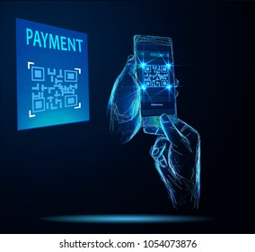 Design payment , online shopping, cashless technology concept. Digital pay without money, using for mobile phone application to scan QR code with smartphone.