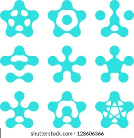 Design pentagonal logo element. Abstract water molecule vector template set. Computer science medical and engineering concept icons.