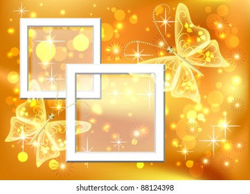 Design photo frames with bokeh and butterfly