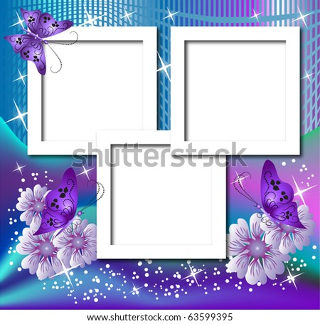 Design Photo Frames Flowers Butterfly Stock Vector (Royalty Free ...