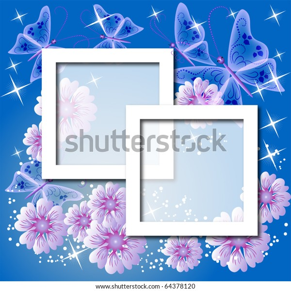 Design Photo Frames Flowers Butterfly Stock Vector (Royalty