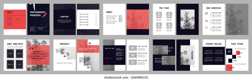 Design Photography Proposal, vector template brochures, flyers, presentations, leaflet, magazine a4 size. Blue and Red geometric elements on a white background. - stock vector