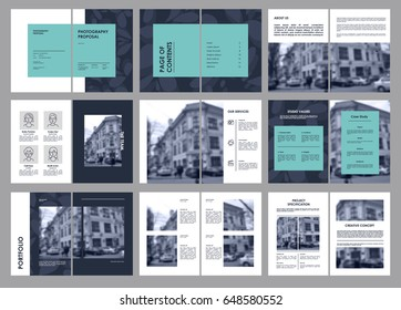 Design Photography Proposal, vector template brochures, flyers, presentations, leaflet, magazine a4 size. Blue and Red geometric elements on a white background. - stock vecto