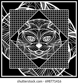 Design Pillow with Cat Face. Geometric Pattern with hand-drawing lace ornament. Vector illustration. Also For print fabric, textile, bandana, scarg, carpet print. Black and white color