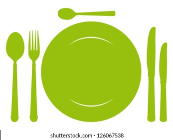 Design place setting with green knives, plate, spoons and fork. Vector illustration.