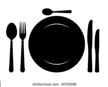 Design place setting with knives, plate, spoons and fork. Vector illustration.