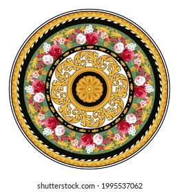 Design of plate in Baroque style with golden decoration. Vector circle template
