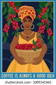 Design of a poster with african woman with a basket harvests coffee beans. Coffee farmer picking red coffee beans on coffee tree.