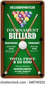 Design poster. Billiard Tournament. Billard balls and  cue in a pool table. Vector illustration. EPS 10