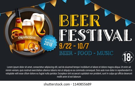 Design poster with food and drink elements for traditional beer festival Oktoberfest