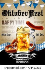 Design poster with food and drink elements for traditional beer festival Oktoberfest. Highly detailed illustration.