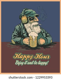 Design Poster Happy Hour with Bearded Old Man In A Bar Listening To Music And Drink Beer. Cartoon Character. Vector Illustration.