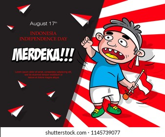 design poster for indonesia independence day, greeting card design, cartoon vector celebration, MERDEKA mean independent