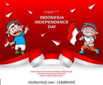 design poster for indonesia independence day, greeting card design, cartoon vector celebration