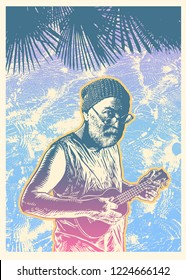 Design Poster With Old Man Playing Ukulele And Silhouette of Tropical Palm Tree And Water Reflections.  vector illustration.