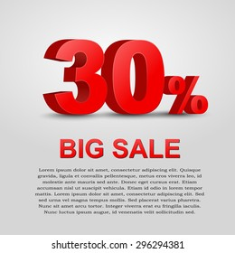 Design a poster for sale. 3D text with 30% percent discount. Vector illustration