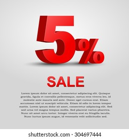 Design a poster for sale. 3D text with 5% percent discount. Vector illustration