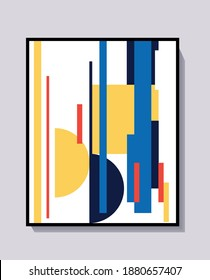 Design poster, Vector template with shapes, rectangle and square elements. Bauhaus and Mondrian style design. Art for print, poster and design.
