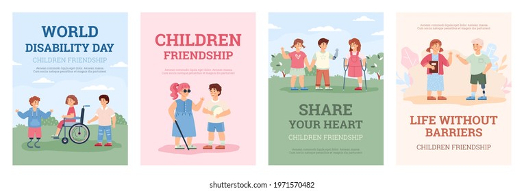 Design posters for world disability day. Disabled girls and boys, handicapped kids with wheelchair and prosthetics and friends helping them. Vector flat illustrations with text.