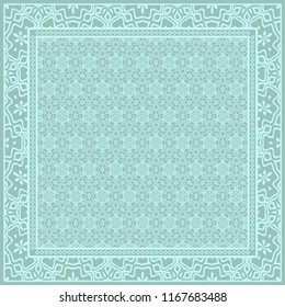 Design print for kerchief. The pattern of geometric floral ornament. Vector illustration. The idea for design prints for neck scarves, carpets, bandanas.