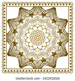 Design Print For Kerchief. The Pattern Of Geometric Ornament. Vector Illustration. The Idea For Design Prints For Neck Scarves, Carpets, Bandanas.
