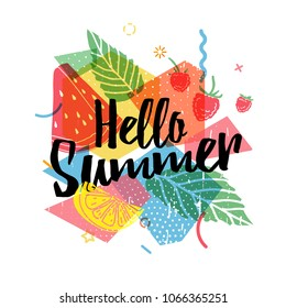 Design print for summer season. Abstract background with silhouettes fruit, lemon, strawberry and mint, geometric particle. Text hello summer on grunge modern texture backdrop. Vector.