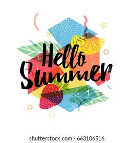 Design print for summer season. Abstract  background with silhouettes fruit, lemon, strawberry and mint, geometric particle. Text hello summer on grunge modern texture backdrop.  Vector
