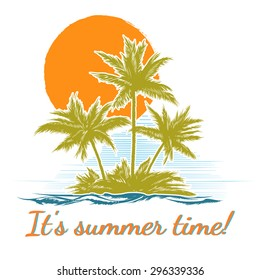Design print for summer t-shirt with palm trees. Island paradise, leisure and ocean, recreation decoration banner or poster. Vector illustration