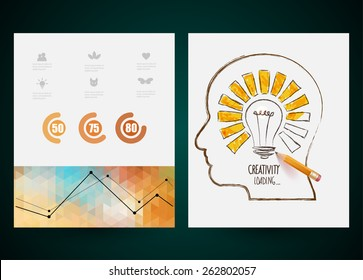 Design of progress bar, loading creativity. Vector web and mobile interface template.  Abstract vector brochure, Web sites, page, leaflet,  logo and text separately