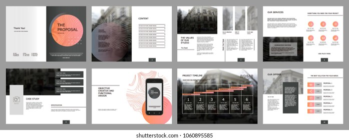 Design Proposal, vector template brochures, flyers, presentations, leaflet, magazine a4 size. Dark grey geometric elements on a white background. - stock vector