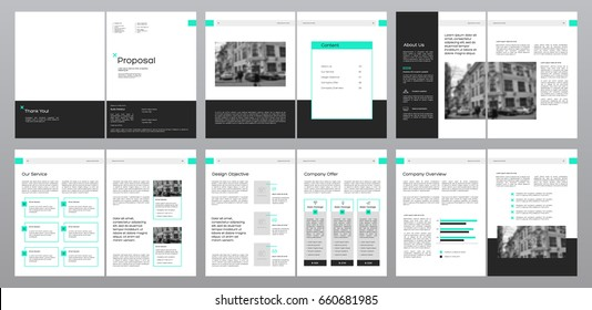 Design Proposal, vector template brochures, flyers, presentations, leaflet, magazine a4 size. Dark grey and Green geometric elements on a white background. - stock vector