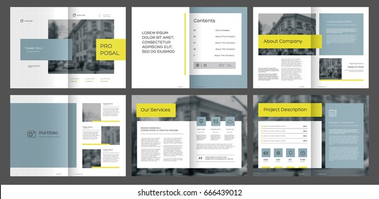 Design Proposal, vector template brochures, flyers, presentations, leaflet, magazine a4 size. Blue and Yellow geometric elements on a white background. - stock vector