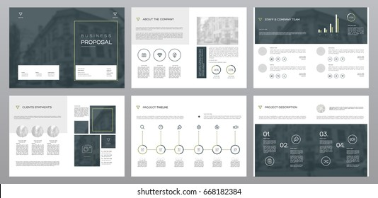 Design Proposal, vector template brochures, flyers, presentations, leaflet, magazine a4 size. Blue and Green geometric elements on a white background. - stock vector