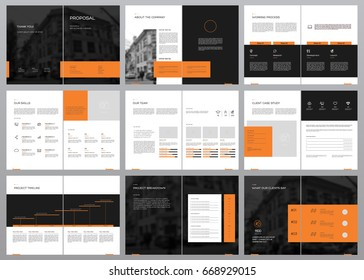 Design Proposal, vector template brochures, flyers, presentations, leaflet, magazine a4 size. Black and Orange geometric elements on a white background. - stock vector