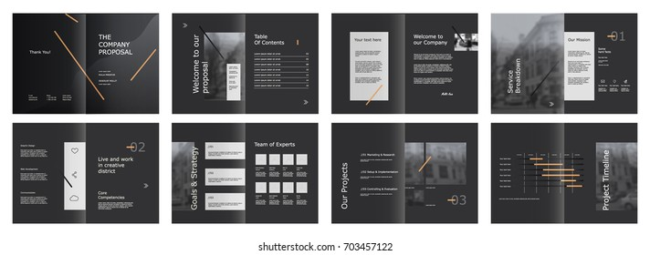 Design Proposal, vector template brochures, flyers, presentations, leaflet, magazine a4 size. Abstract geometric elements on a Grey  background. - stock vector