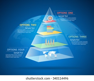 Design pyramid infographic 4 steps. can be used for workflow layout, diagram, number options, bussiness concept