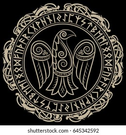 Design of Raven in Celtic, Scandinavian style and Norse runes, isolated on black, vector illustration