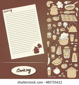 Design of recipes book. Hand drawn doodles objects food and utensils. Cookbook.
