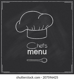 Design for restaurant Chef's menu in chalkboard style with chef's hat and spoon
