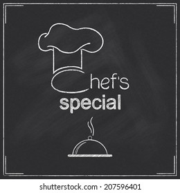 Design for restaurant Chef's special menu in chalkboard style with chef's hat and dish