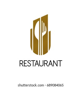 Design of restaurant logo on white background. Isolated vector illustration.