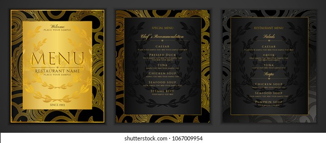 Design Restaurant Menu template in black color with gold frame pattern (border). Elegant luxe black and gold cover useful for Creative Cafe Menu, brochure, coffee house, wedding invitation design