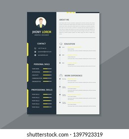 Design a resume / cv template, using black, white and yellow stripes - Vector