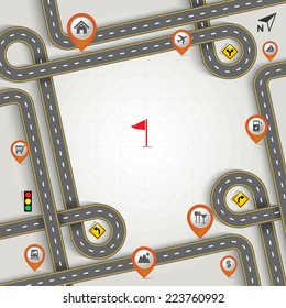 Design Road & Street Frame with Map Pointer - Marker Icon Set, Travel Concept, Vector EPS10