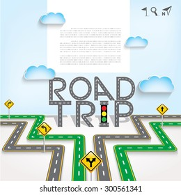 """Design road / street frame with words """"Road Trip"""" and icon set, vector template background, Illustration EPS 10."""