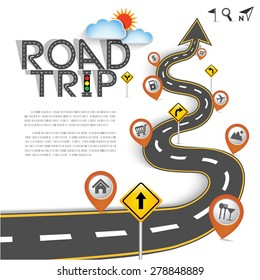 "Design Road & Street Template Background with Words ""Road Trip"" and Map Pointer Icon Set, Vector EPS10."
