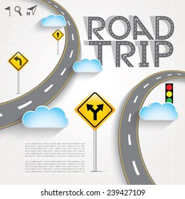 Design Road & Street Template with Words Road Trip and Clouds, Vector EPS10.